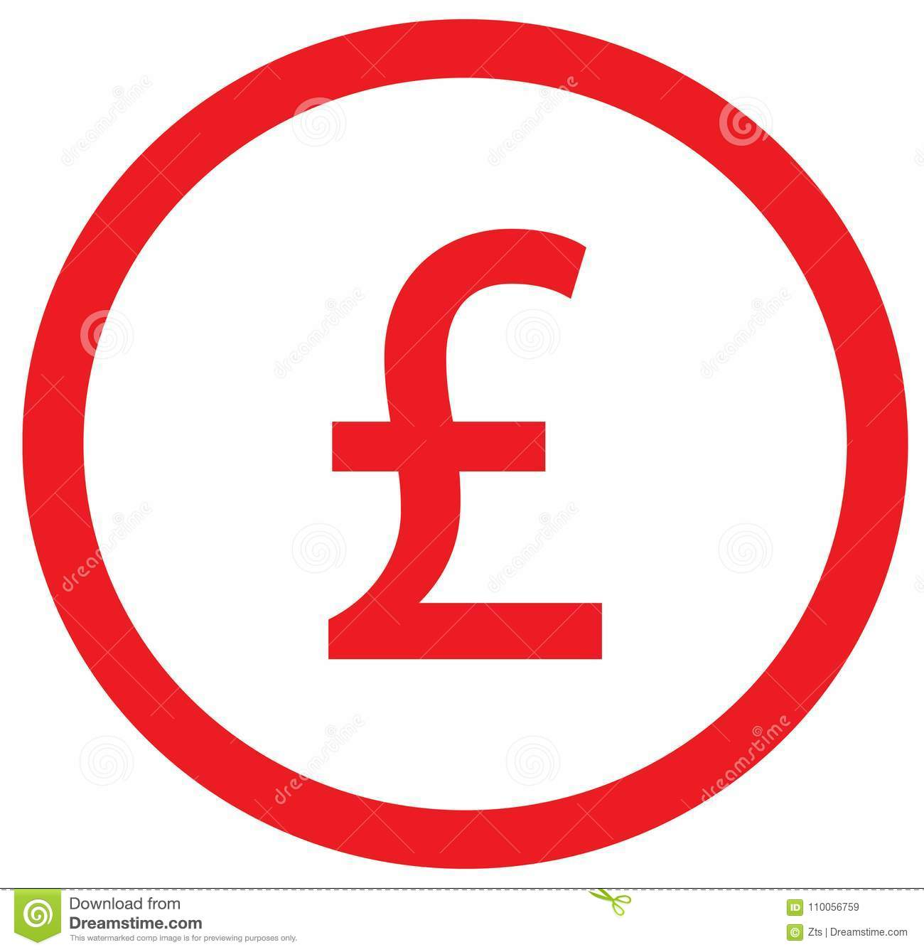 Pound Or Pound Sterling Currency Icon Or Logo Over A Coin Stock