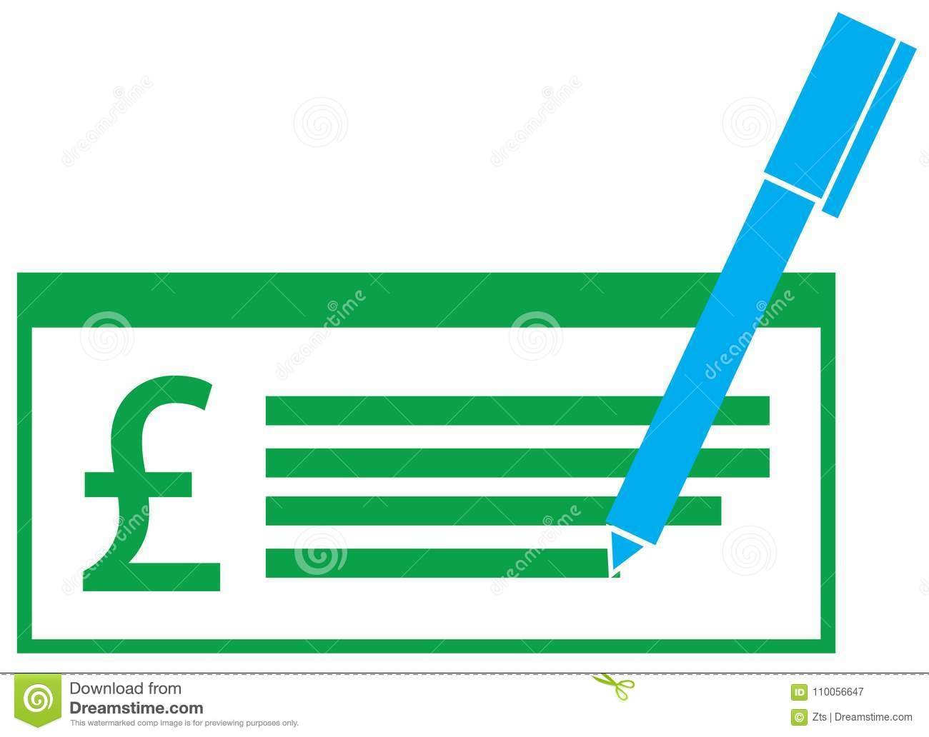 Pound Sterling Currency Icon Or Logo On A Pay Check Or Cheque Stock