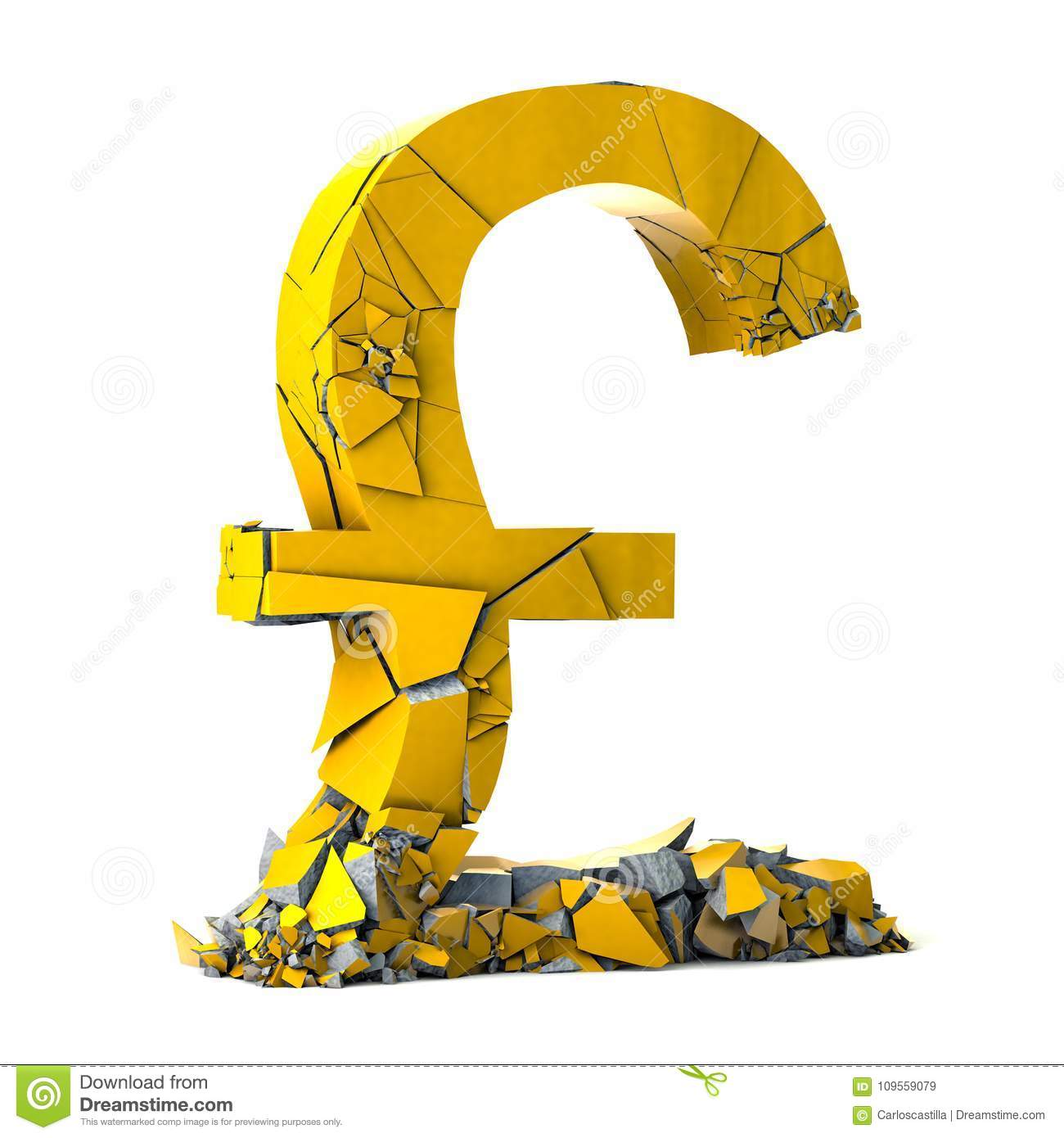 Pound Sterling Currency Symbol On White Background Stock