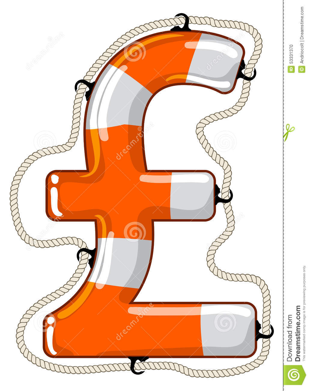 Pound Sterling Sign Isolated Lifebuoy Stock Vector Illustration Of