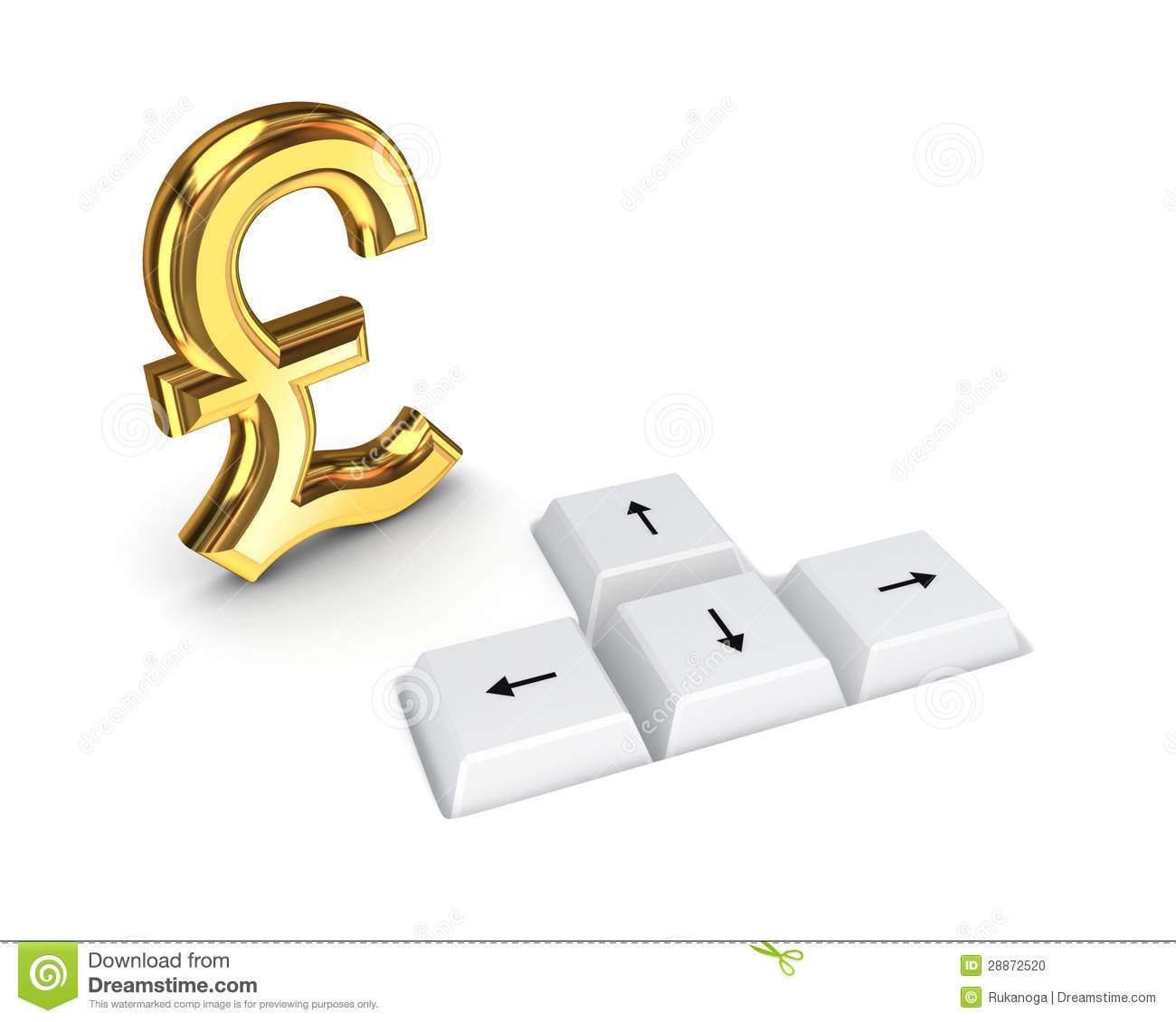 Pound Sterling Sign And Keyboard Buttons Stock Illustration