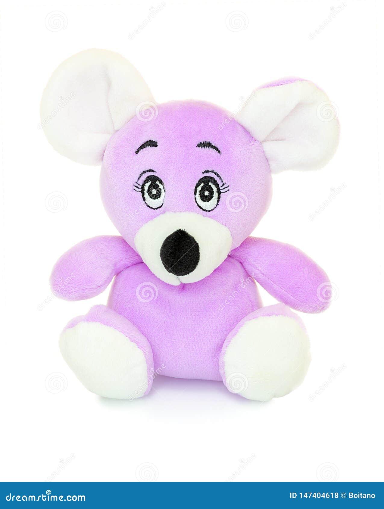 Poupée de plushie de souris d isolement sur le fond blanc avec la réflexion d ombre La peluche de souris a bourré la marionnette