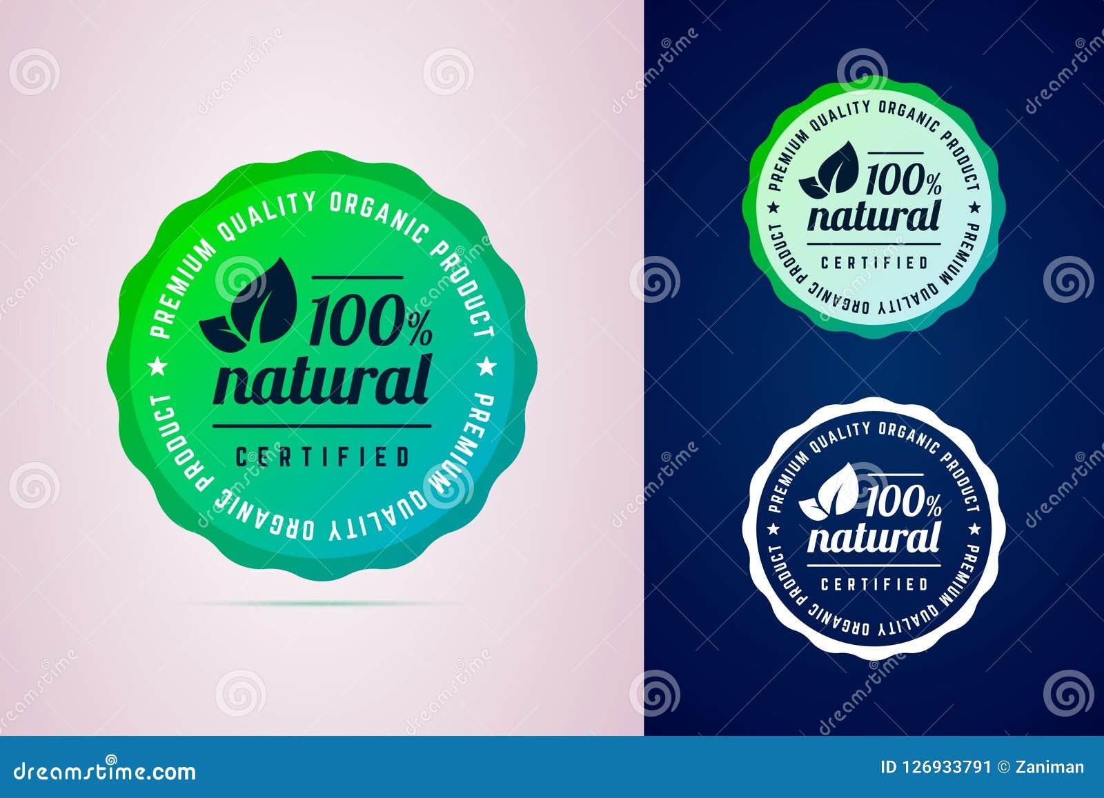 100 pour cent d insigne rond naturel de produit certifié