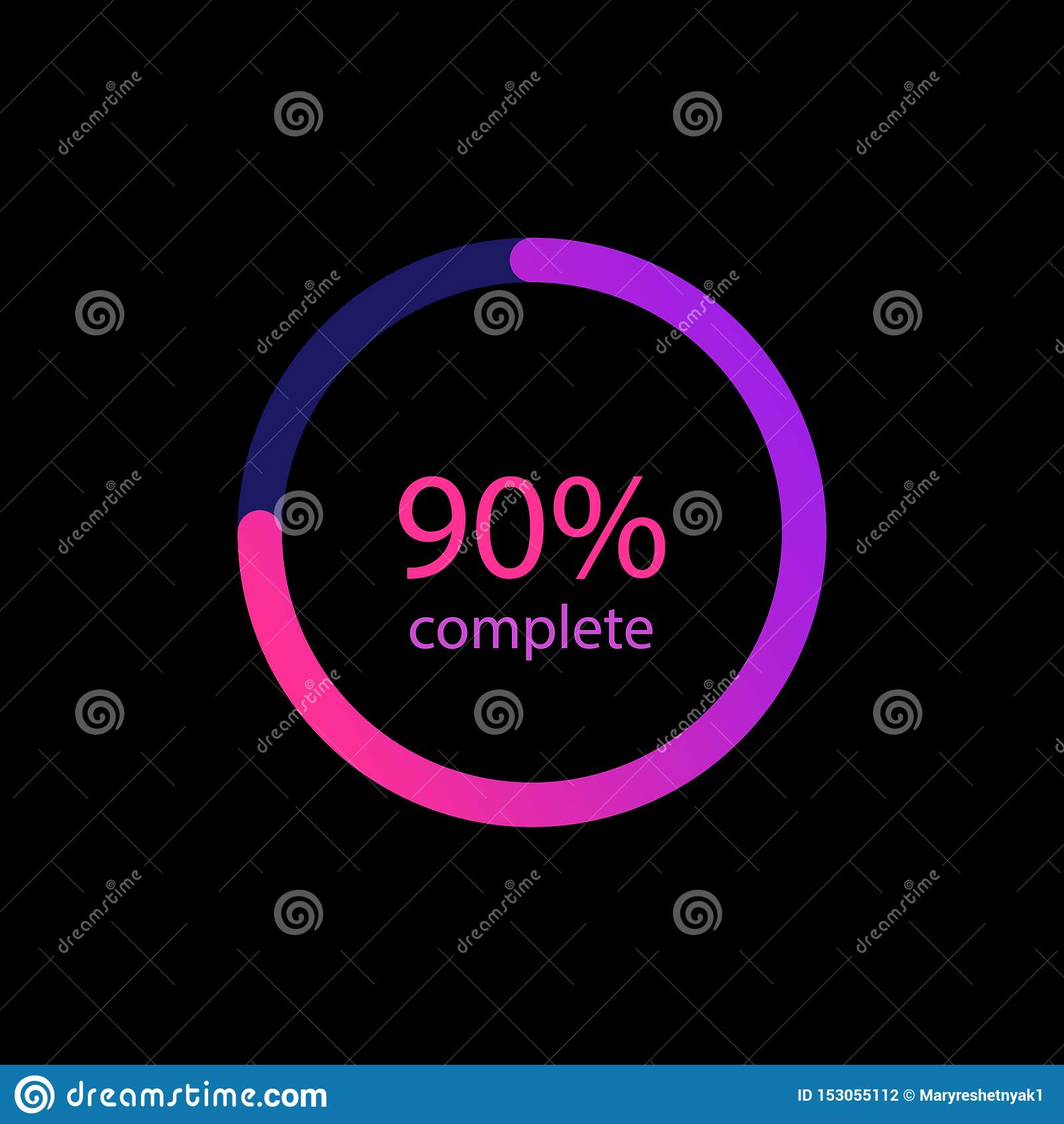 Pour cent de 90  en cercle de couleur de gradient Icône colorée rougeoyante de chargeur Barres de chargement pour le Web, milieu