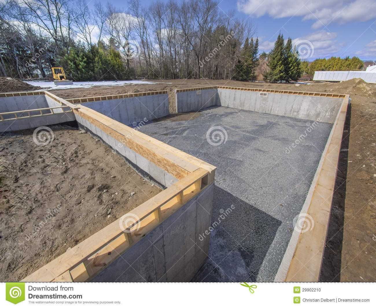New house foundation construction stock photo image for Building a basement foundation