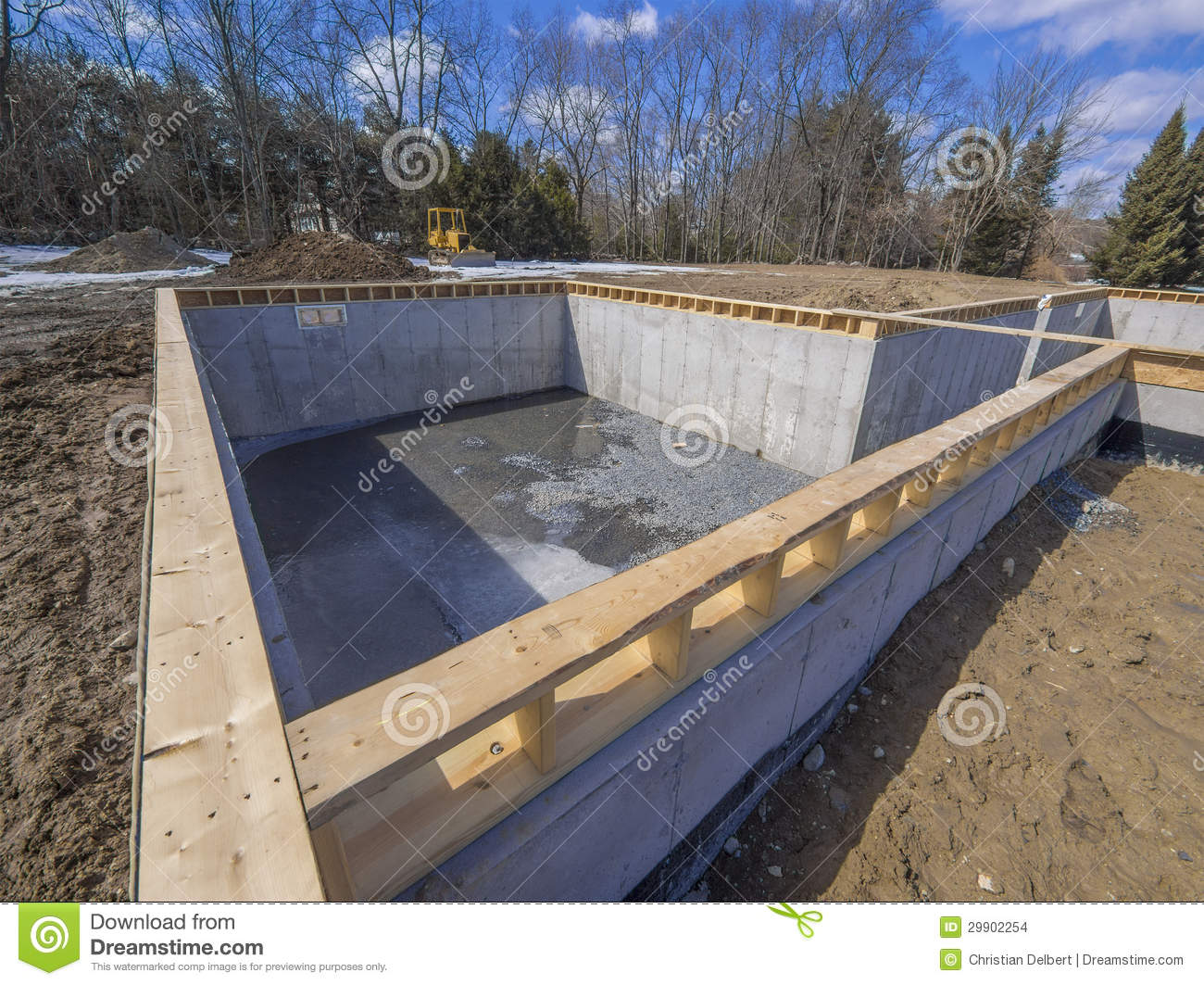 New house foundation construction stock images image for New construction basement