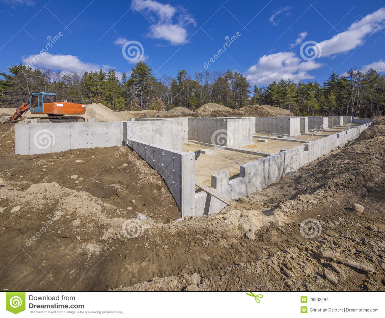 New house foundation construction stock images image for Poured foundations