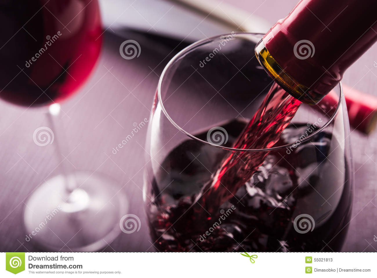 Poured red wine