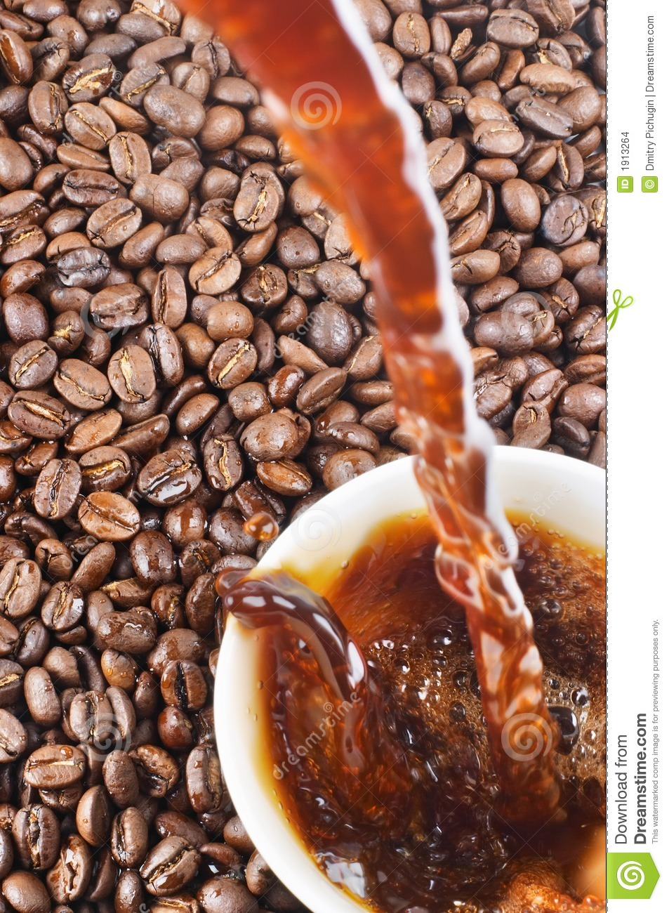 Pouring coffee and coffee-beans