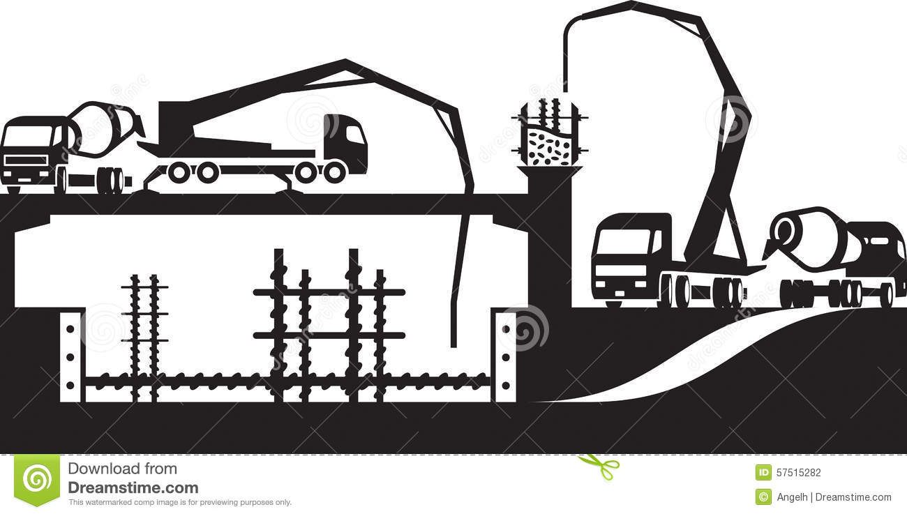 Pouring concrete on construction site stock vector image for How to read construction site plans