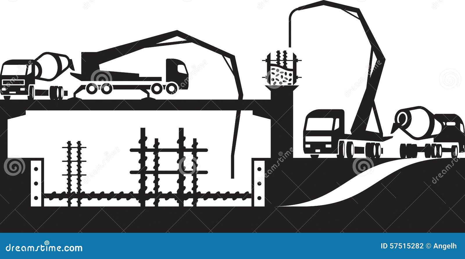 Stock Illustration Pouring Concrete Construction Site Vector Illustration Image57515282 on Cement Pump Truck