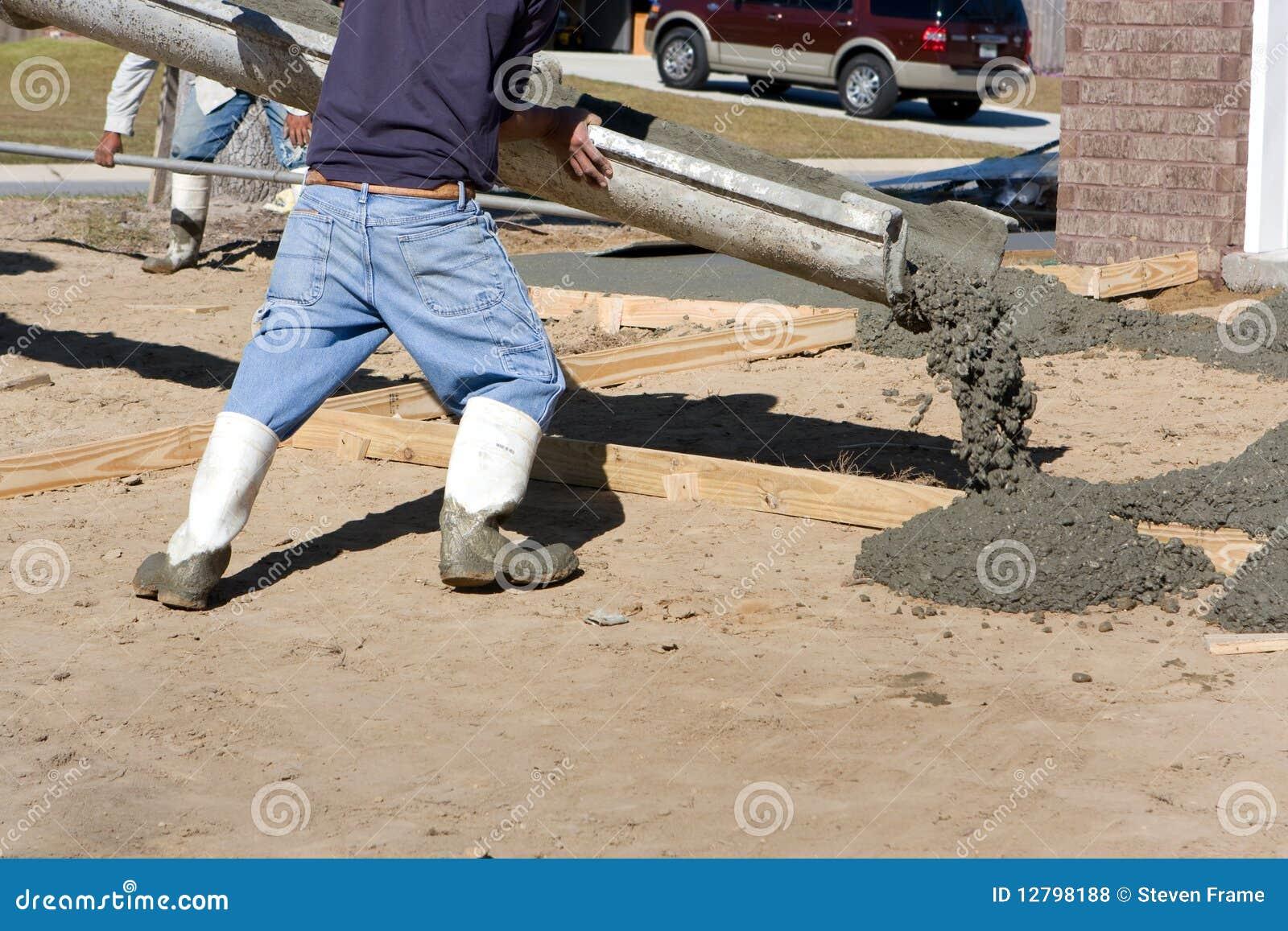 Pouring concrete driveway royalty free stock photos for Pouring concrete driveway