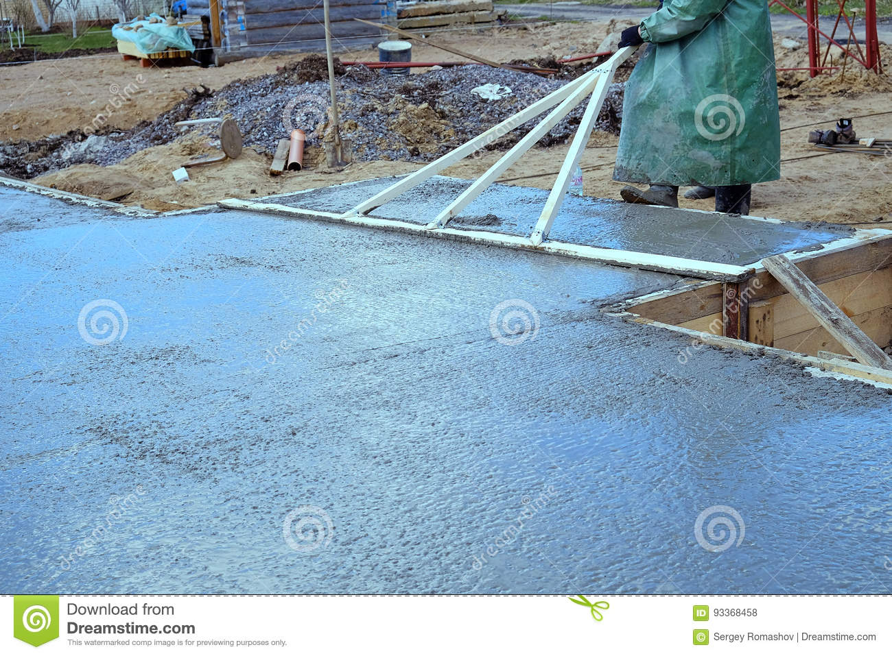 Pouring concrete slab stock photo  Image of liquid, grey
