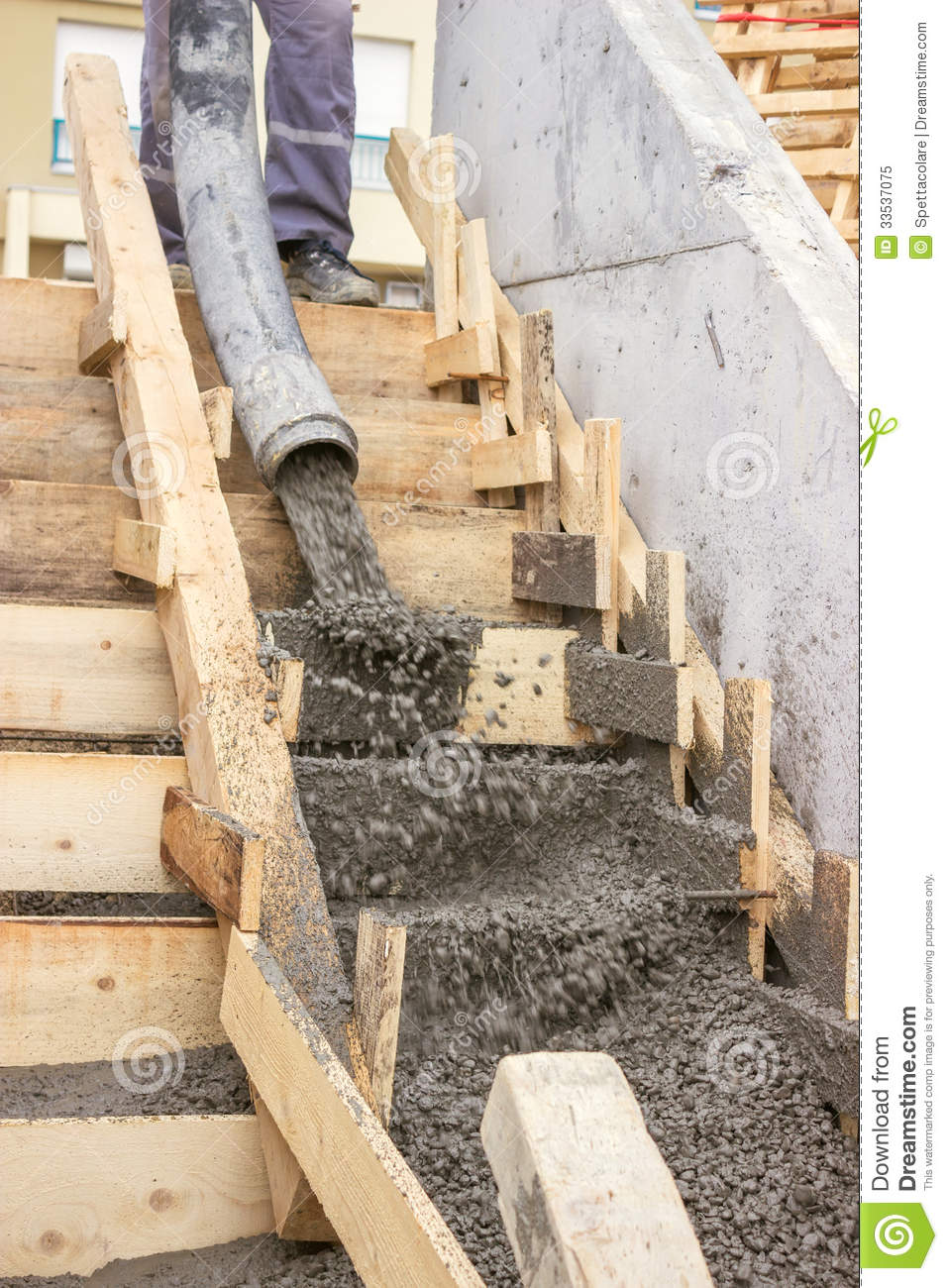Royalty Free Stock Photo Pouring Concrete Steps Manual Workers Tube Truck Mounted Pump Image33537075 on round over doorway