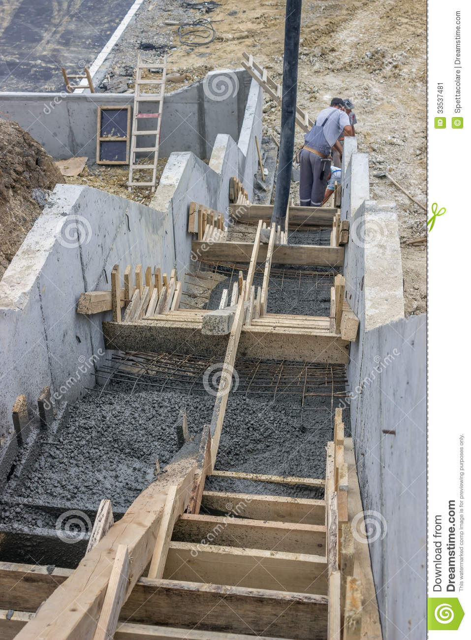 Pouring Concrete Steps 5 Stock Image Image Of Discharging