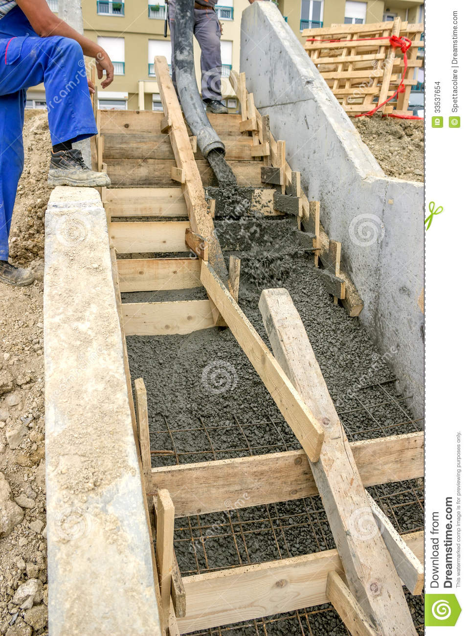 Pouring Concrete Steps Stock Photo Image Of Fitter