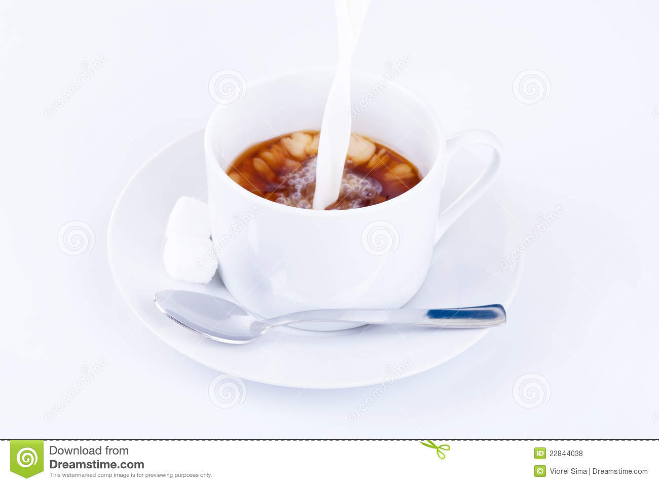 Pouring Cream Into A Cup Of Coffee Royalty Free Stock ...