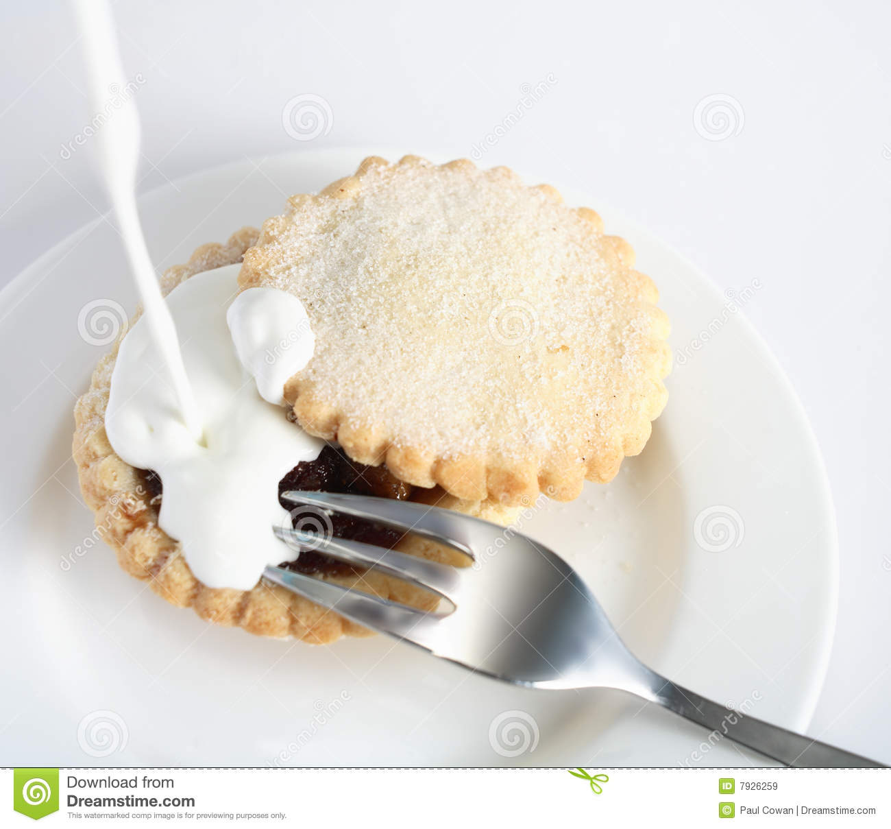Pouring Cream On A Mince Pie Royalty Free Stock Images ...