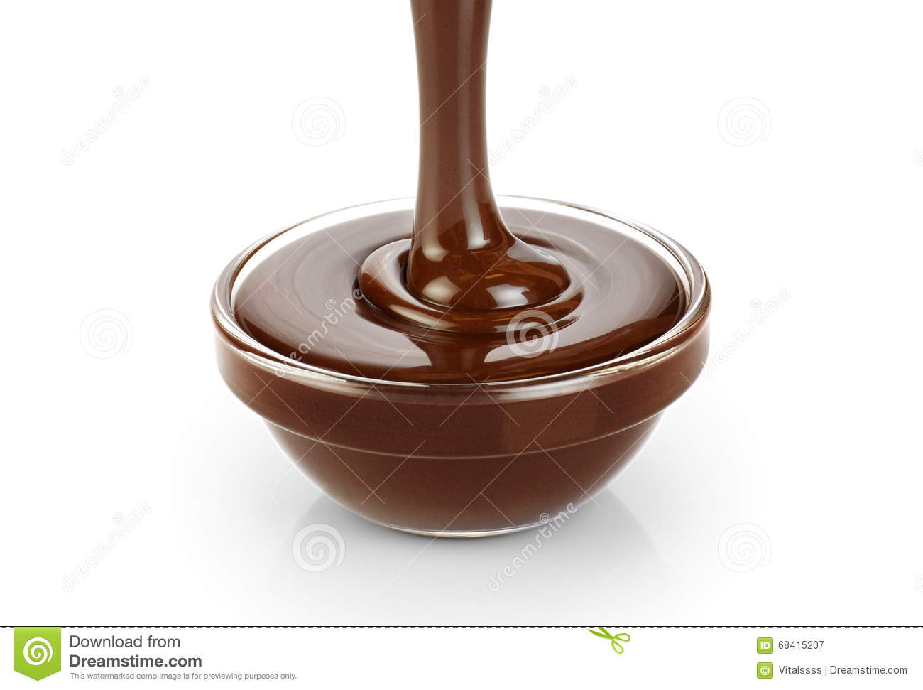 pouring dark melted chocolate isolated on white background