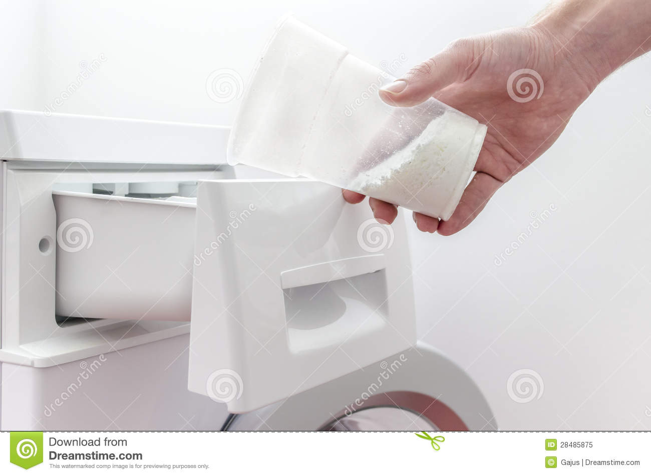 Pouring Detergent Into The Washing Machine Royalty Free