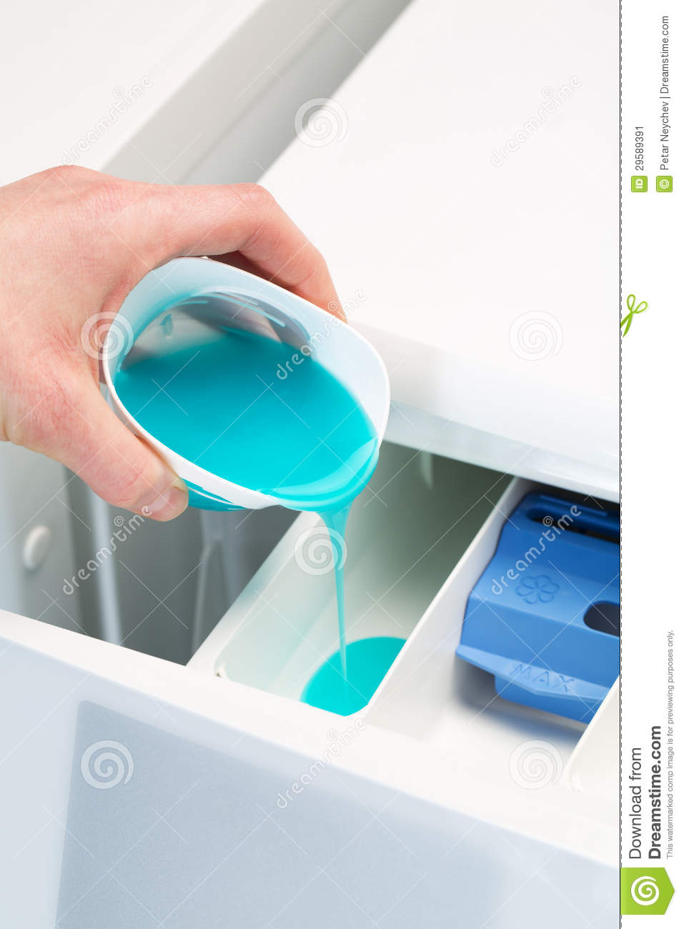 Pouring Detergent In Washing Machine Stock Image Image