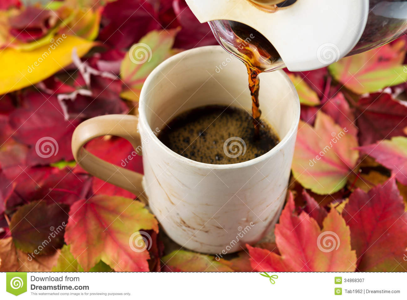 Pouring Fresh Coffee During Fall Time Stock Image Image