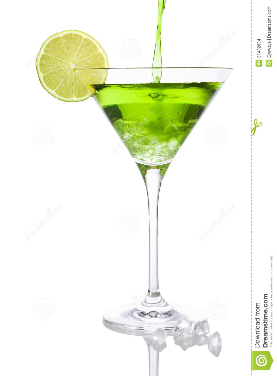 Download Pouring A Green Cocktail Into A Martini Glass Stock Photo - Image of citrus, refreshing: 31402684