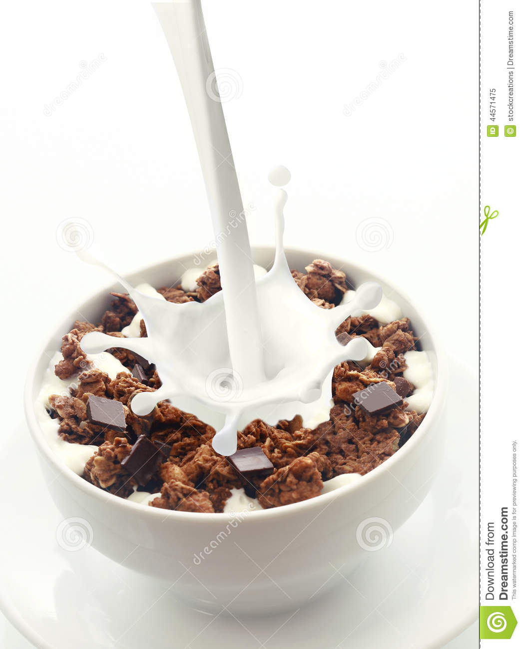 Pouring Milk Into Choc Chip Breakfast Cereal Stock Image