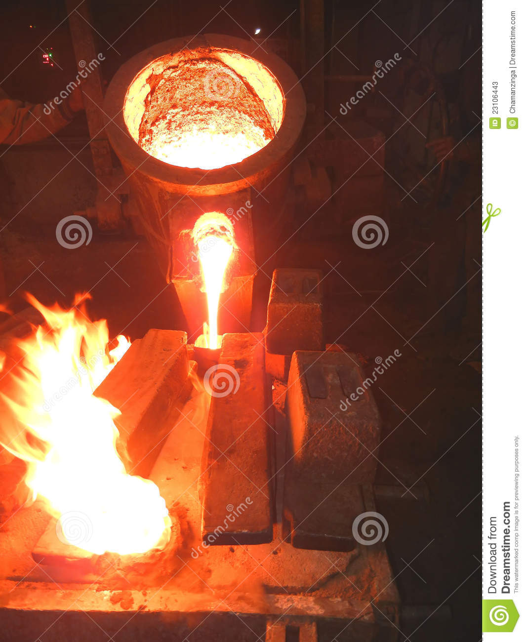 Cast In Steel : Pouring of molten steel cast iron stock image