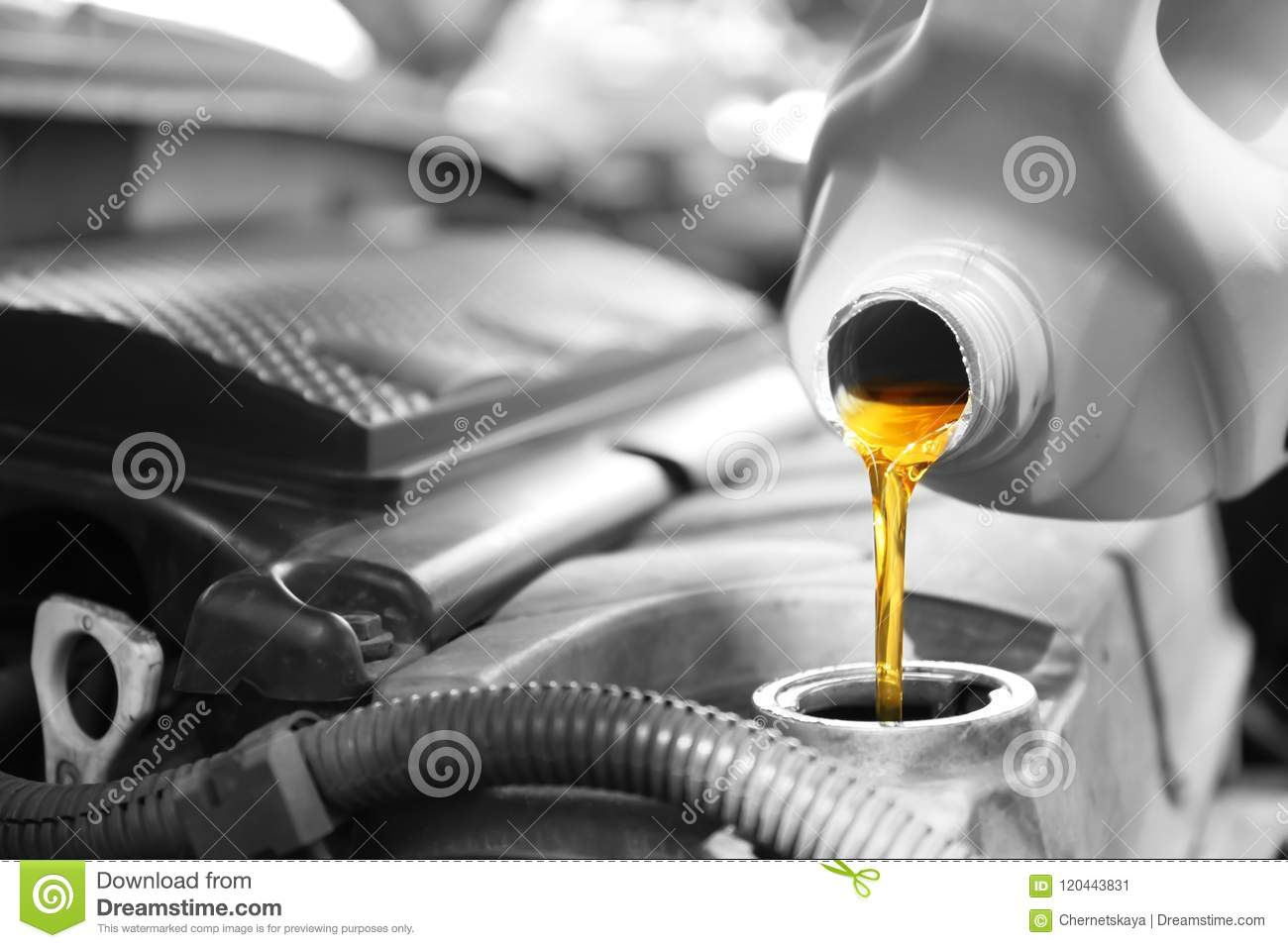 Pouring oil into car engine
