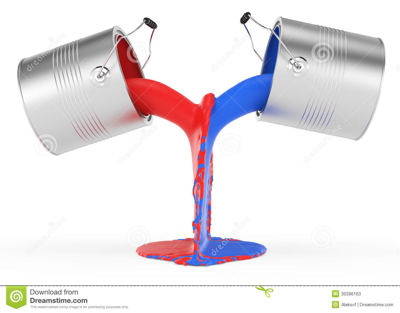 Pouring Red And Blue Paint Stock Illustration