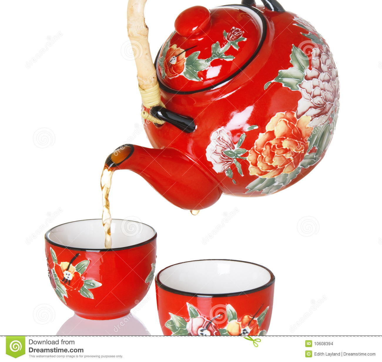Pouring Tea From Red Teapot Stock Photo Image Of Nobody