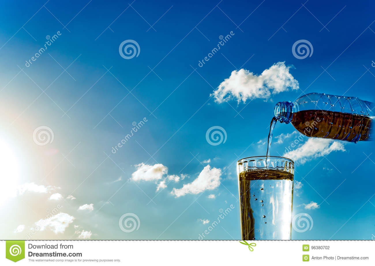 Pouring water stock photo  Image of pour, shine, bottle - 96380702