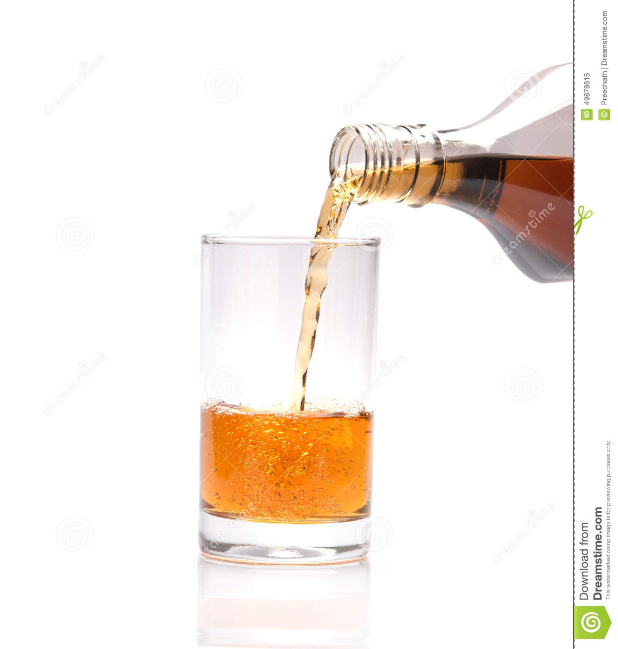 Pouring Whisky Into Glass On White Background Stock Image ...