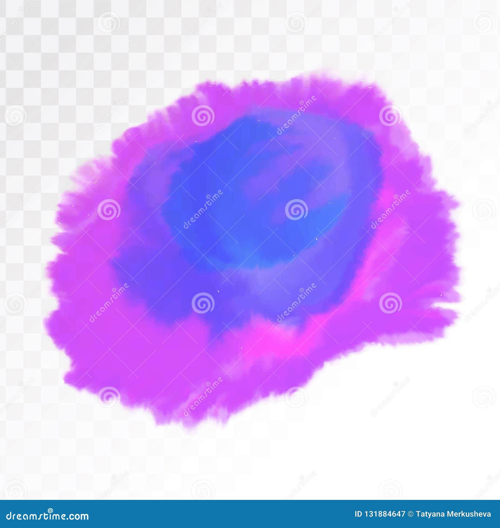 Pourpre et tache bleue d aquarelle, d isolement sur le fond transparent Élément de texture Illustration de vecteur