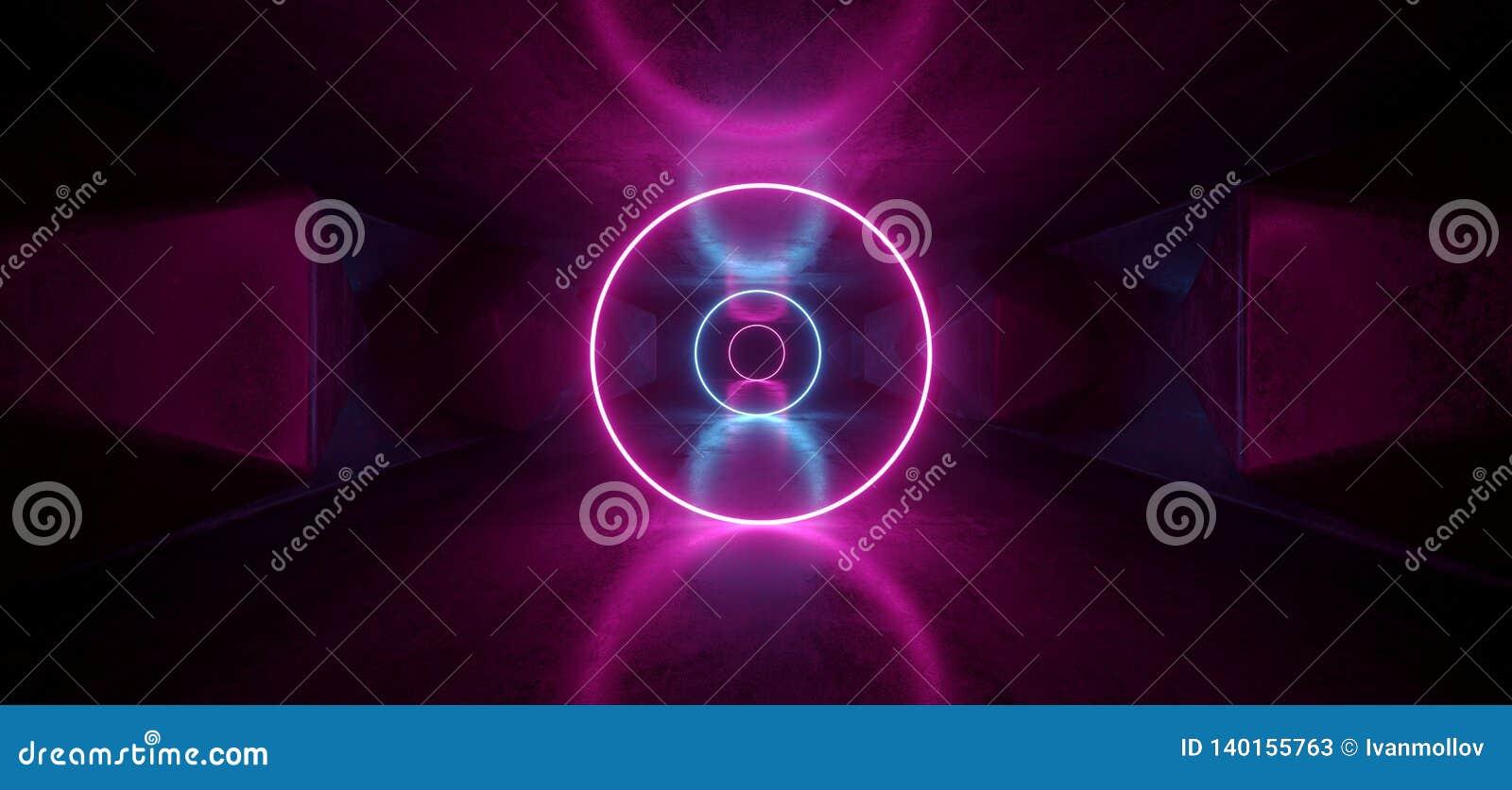 Pourpre futuriste lumineux luxueux fluorescent rougeoyant au néon de lumières de cercle de Sci fi de l ultraviolet cosmique vibra