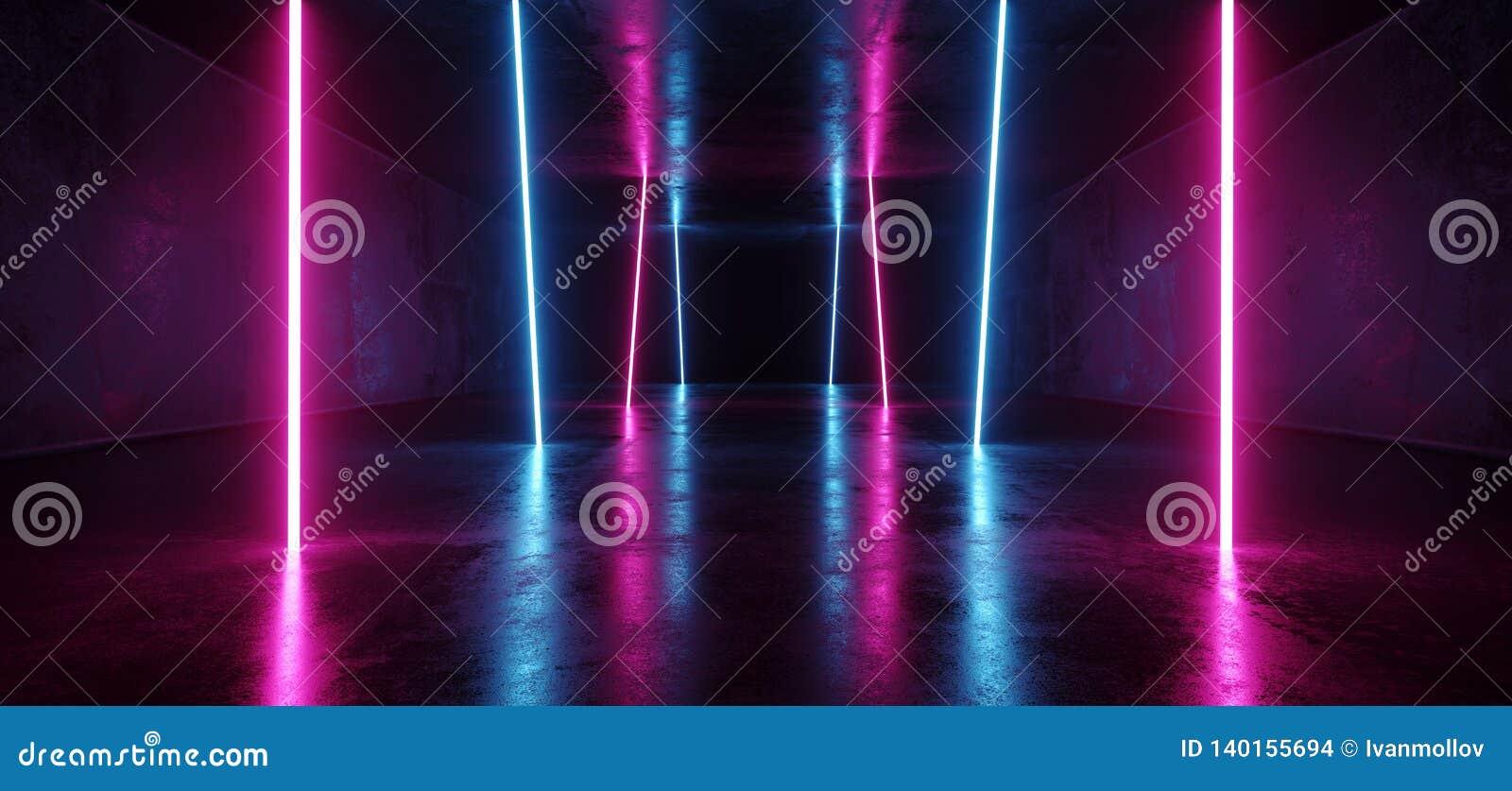 Pourpre vertical futuriste lumineux luxueux fluorescent rougeoyant au néon de lumières de Sci fi de l ultraviolet cosmique vibran