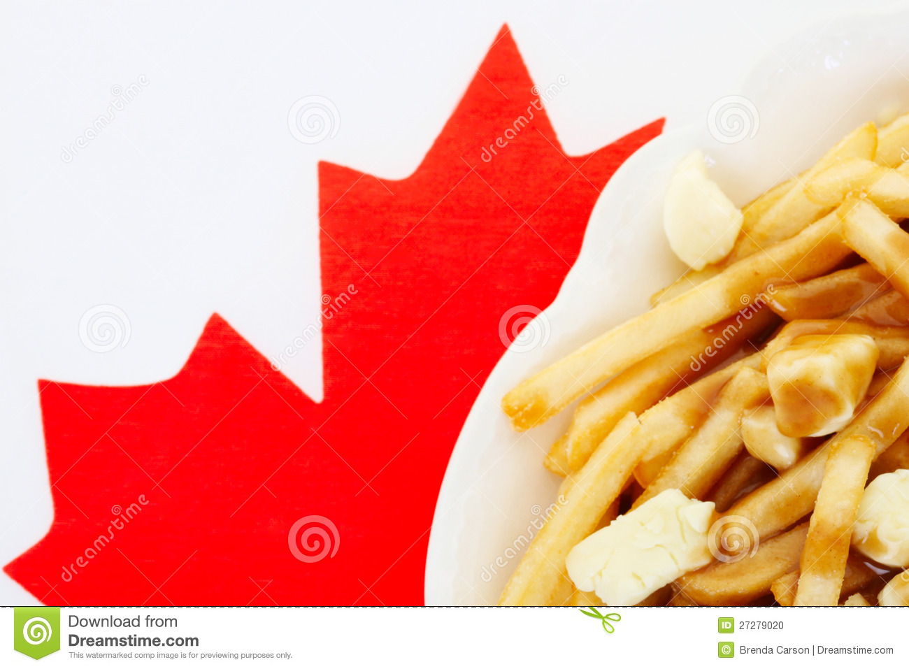Poutine On Canadian Flag Stock Photo Image Of Macro