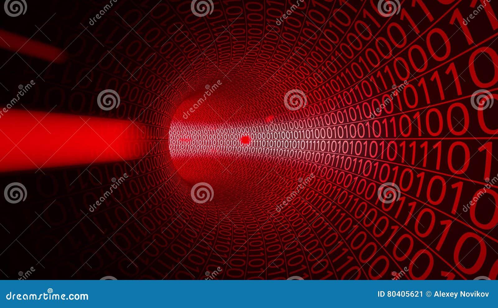 Pov-flyg till och med den abstrakta röda tunnelen som göras med noll och en hög bakgrund - tech En hackertheat, DDoS datorattack