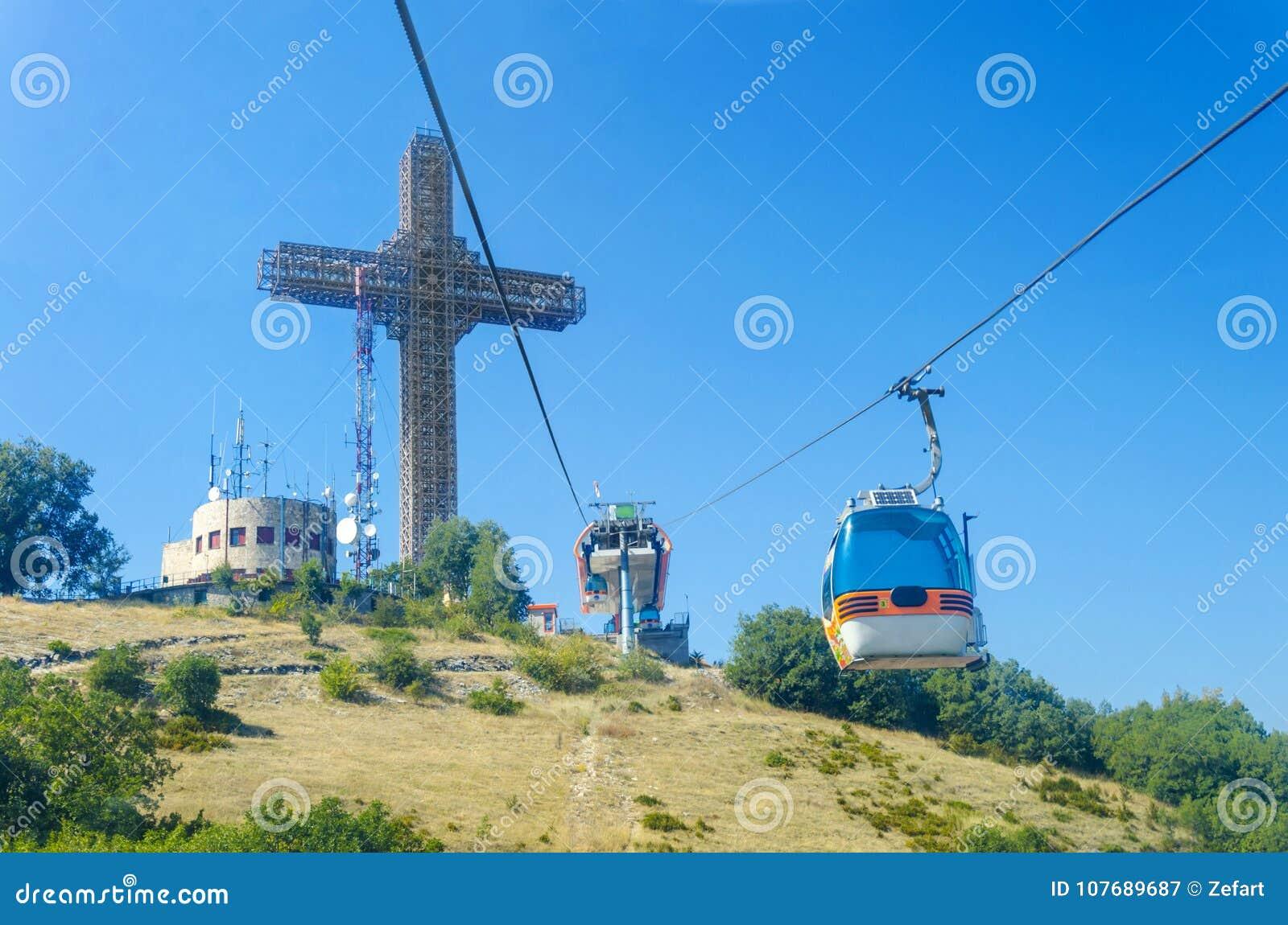 POV view of tourist on ride of gondola cablecar to Vodno mountain