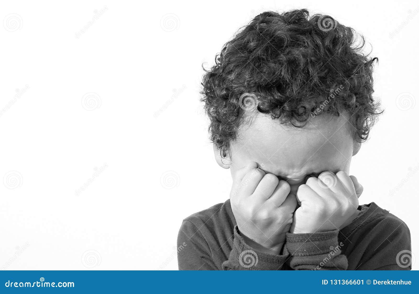 Poverty boy crying