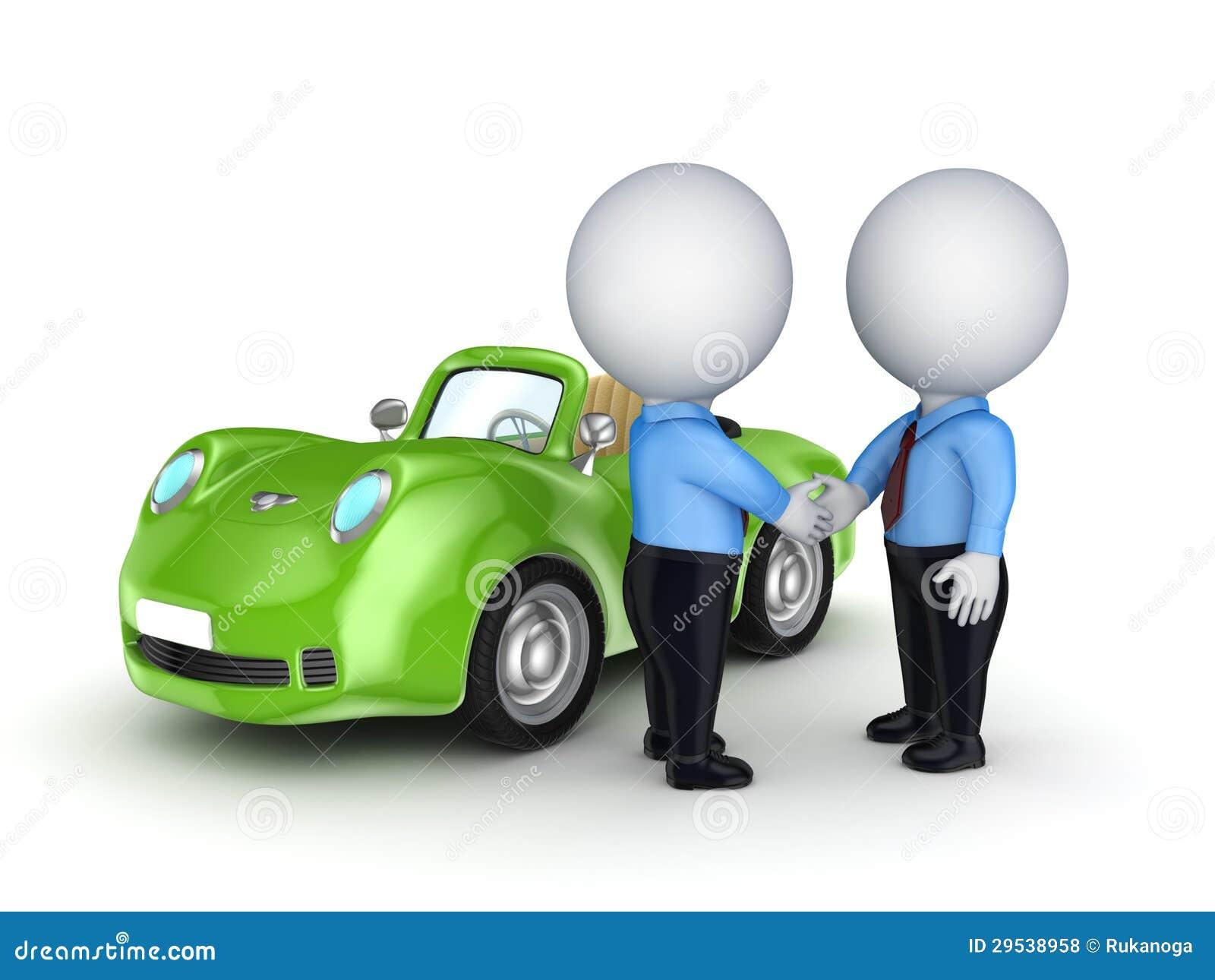 Povos 3d pequenos e carro verde.
