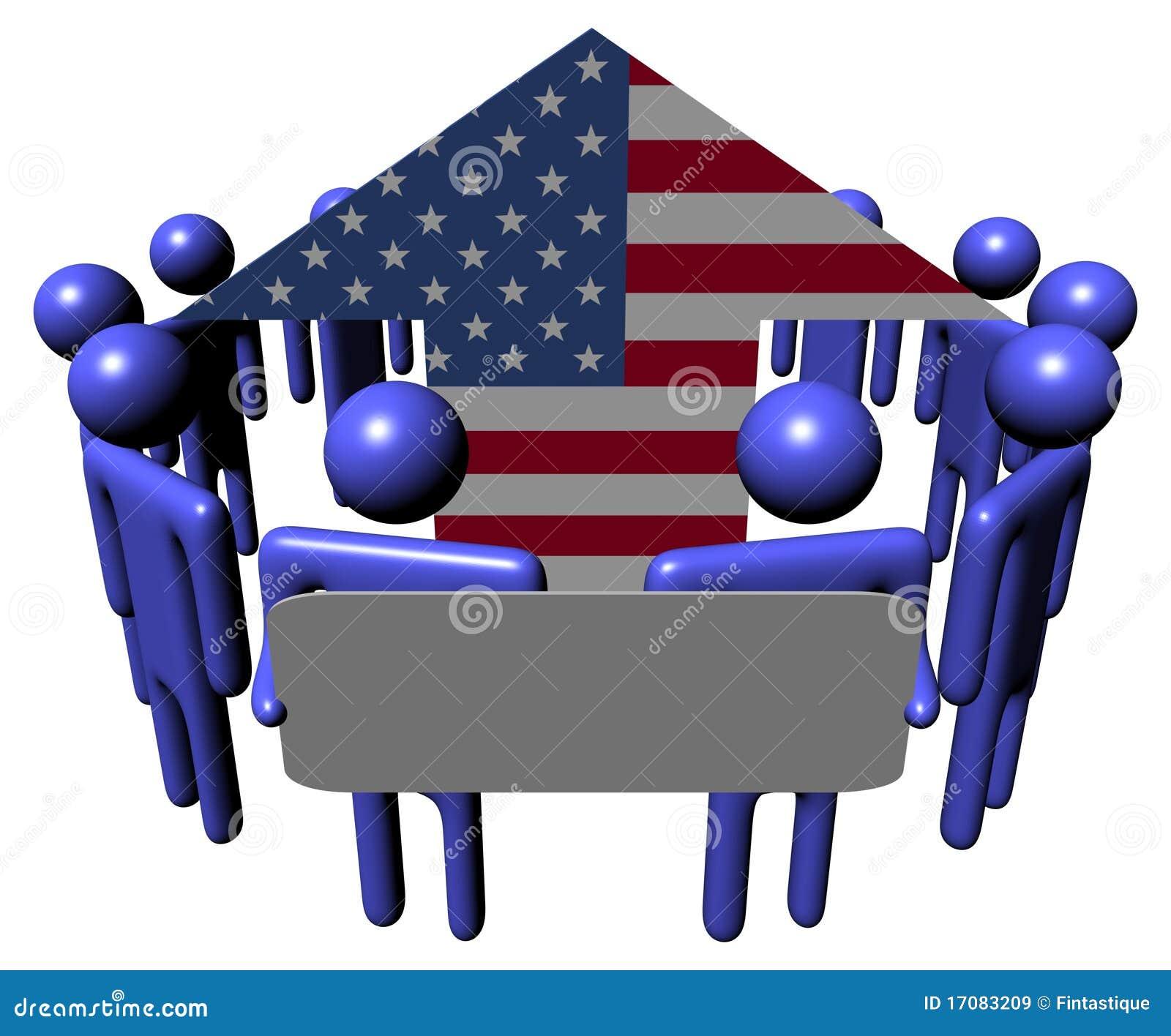 Povos com sinal em torno da seta da bandeira americana