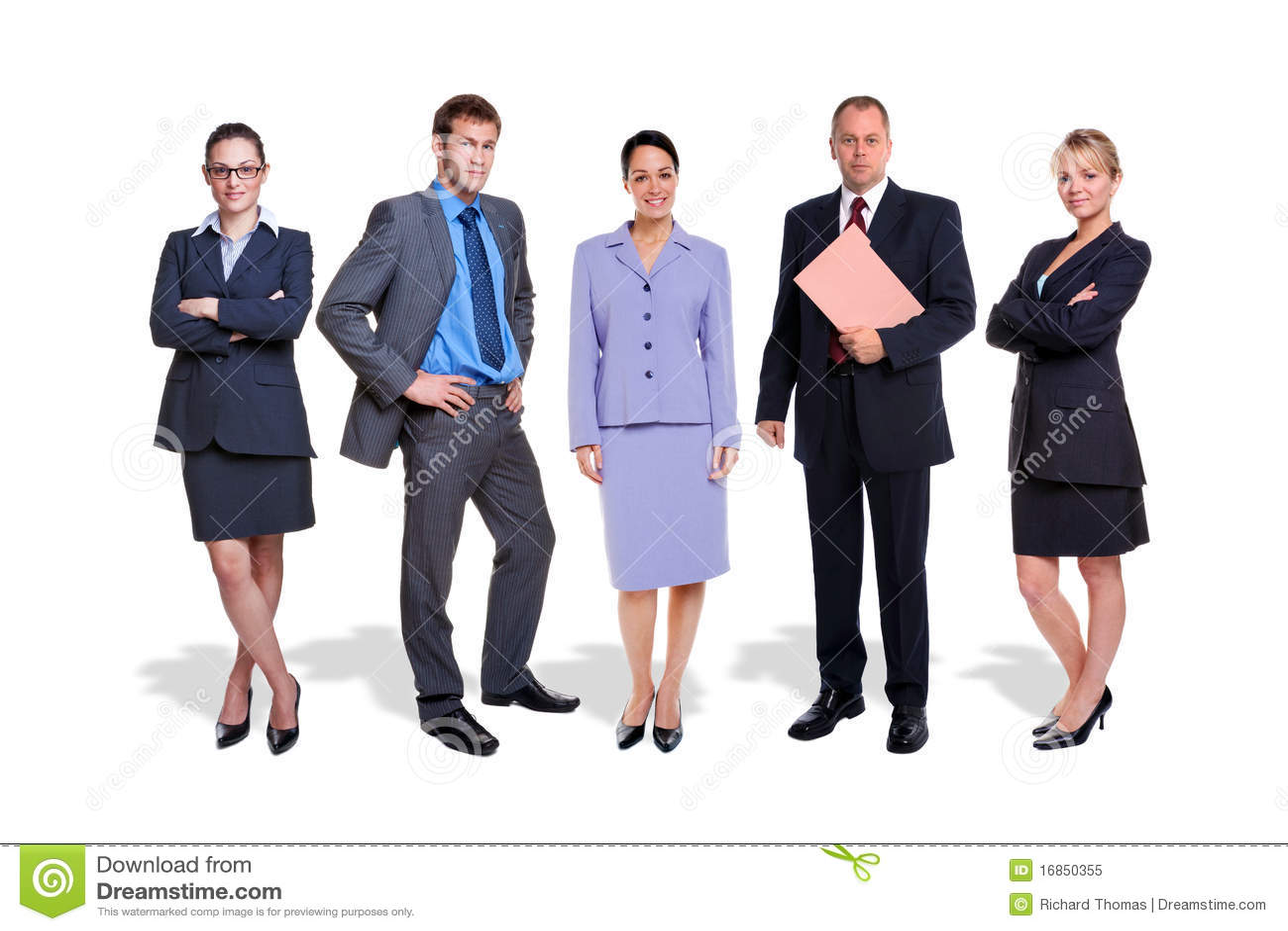 Povos da equipe cinco do negócio isolados