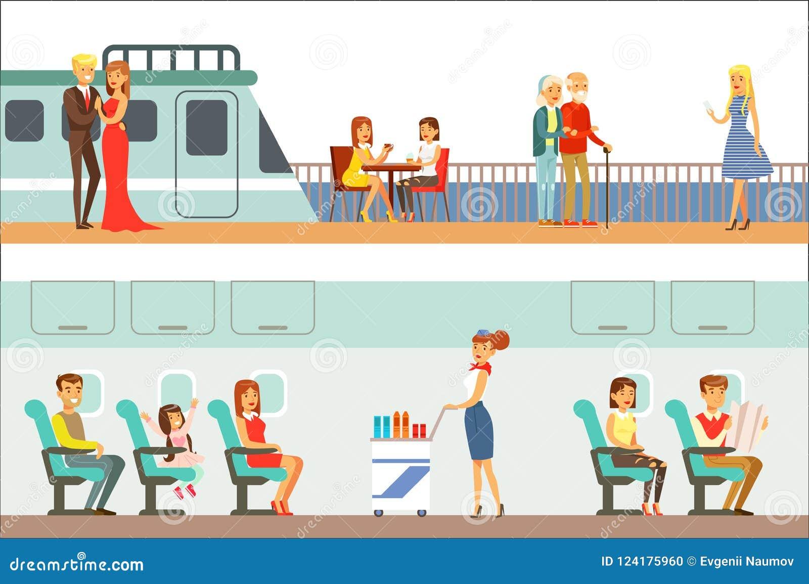 Povos de sorriso que tomam o grupo diferente do transporte, do metro, do plano e do navio de cenas dos desenhos animados com viaj