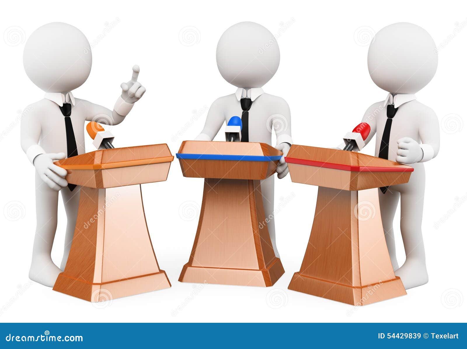 Povos do branco 3d Debate político