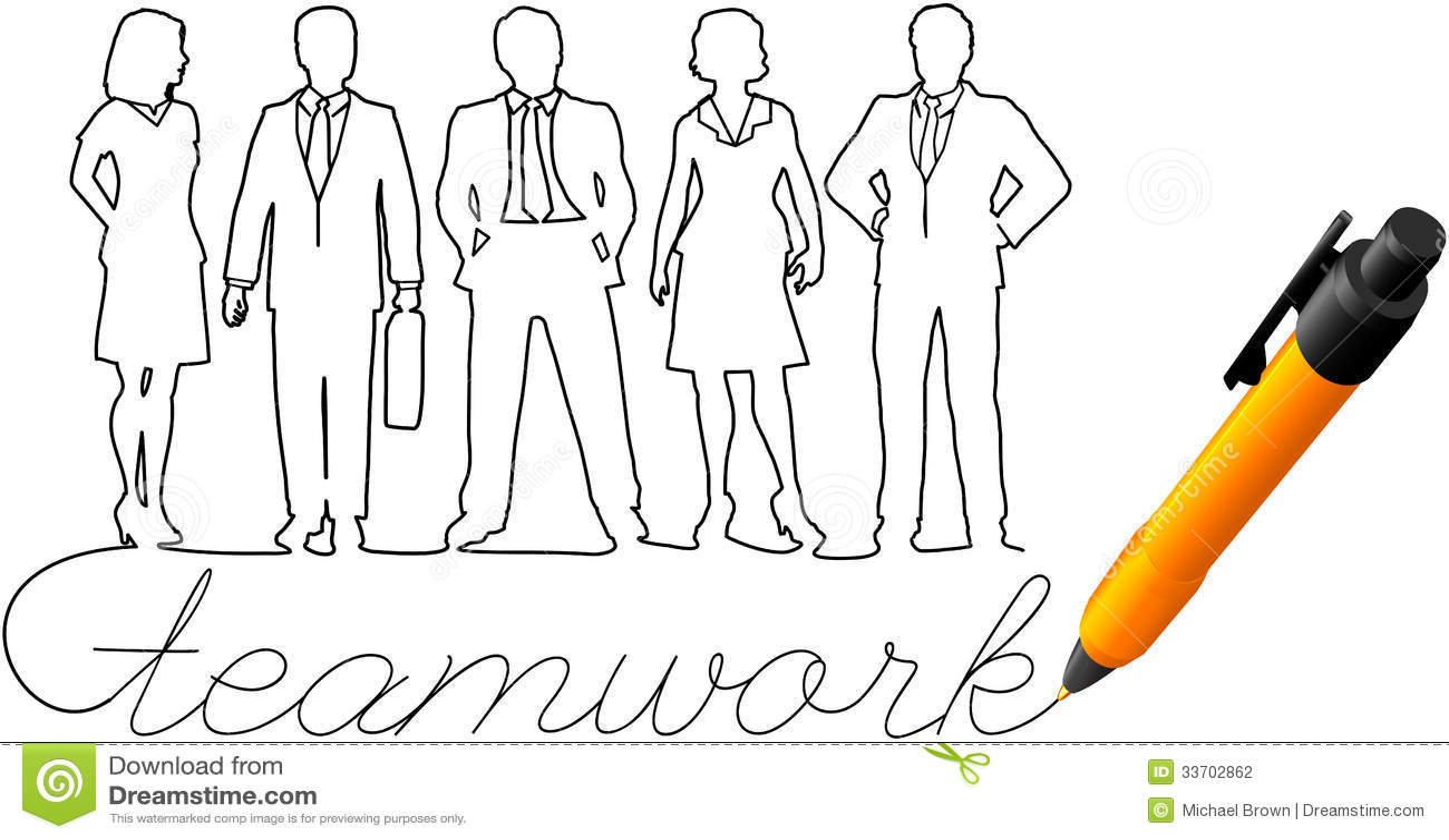 Povos do trabalho da equipe do negócio do desenho