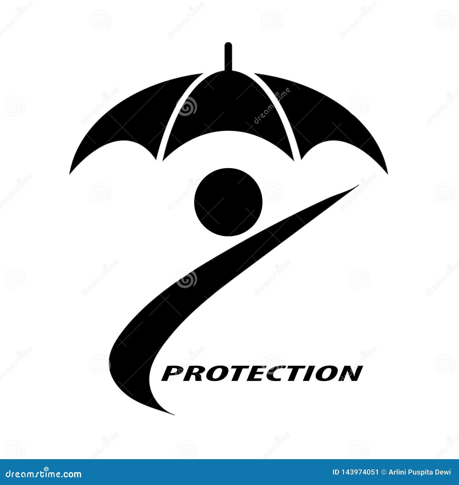 Povos e guarda-chuvas que simbolizam a proteção do seguro para indivíduos