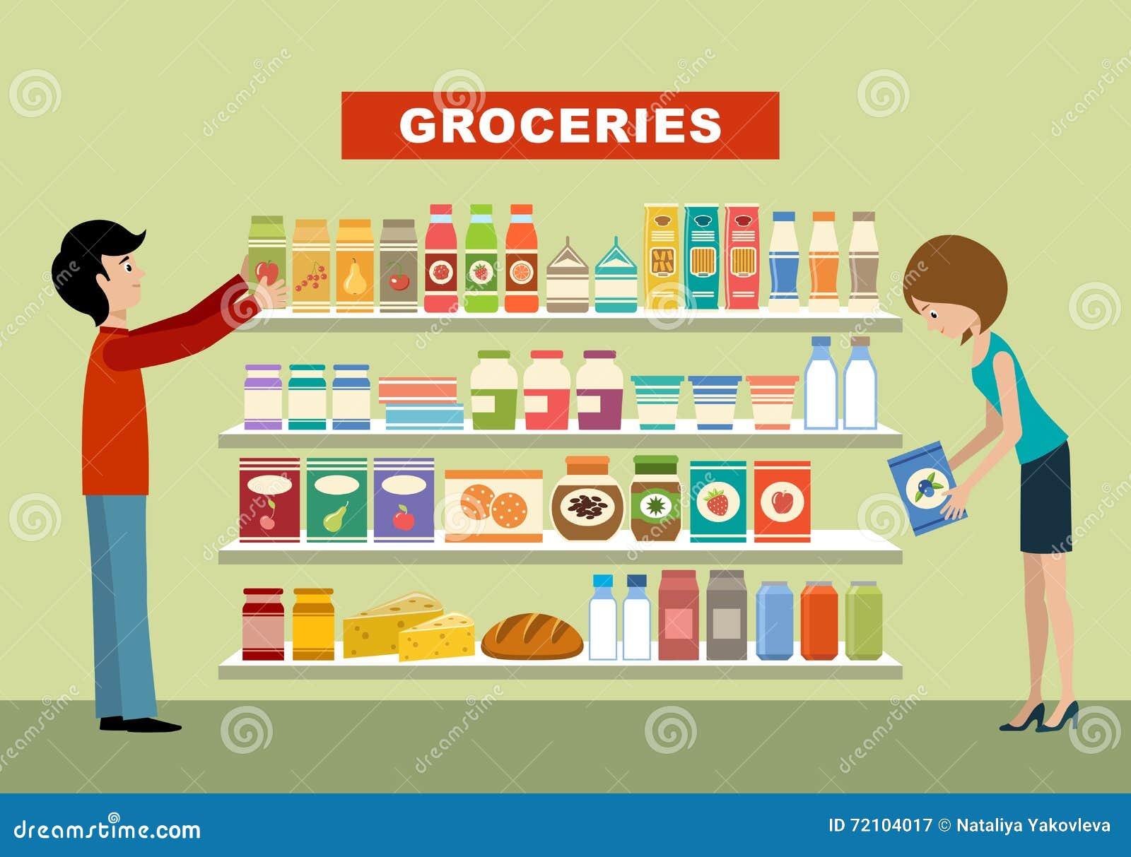Povos em um supermercado mantimento