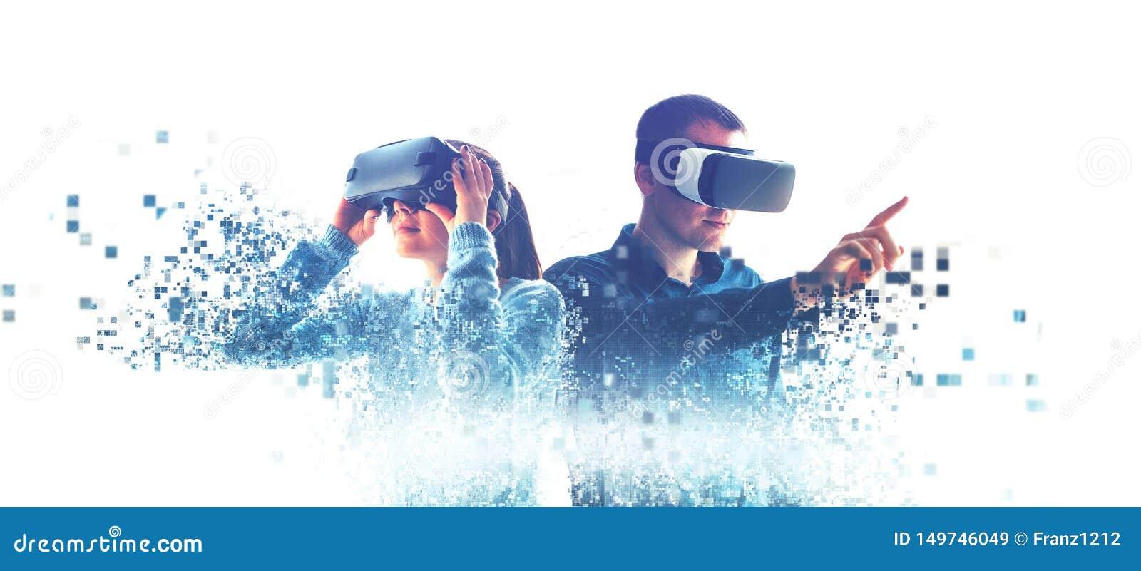 Povos em vidros virtuais VR